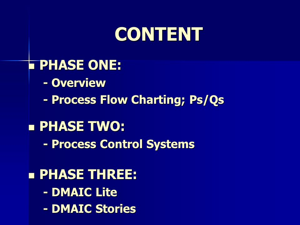 CONTENT PHASE ONE: PHASE ONE: - Overview - Process Flow Charting; Ps/Qs PHASE TWO: PHASE TWO: - Process Control Systems PHASE THREE: PHASE THREE: - DMAIC Lite - DMAIC Stories