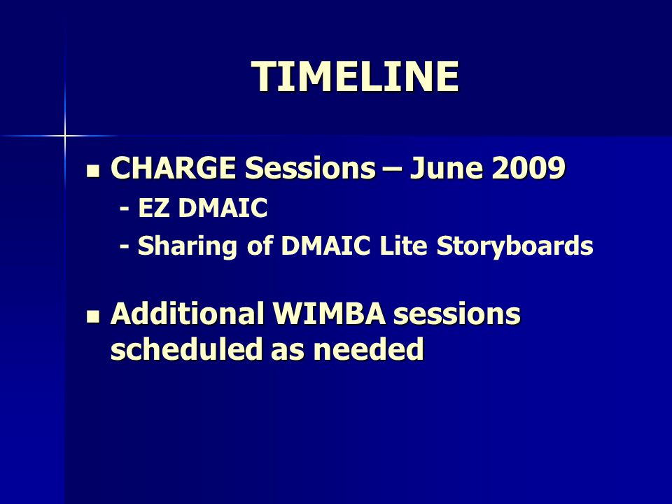 TIMELINE CHARGE Sessions – June 2009 CHARGE Sessions – June 2009 - EZ DMAIC - Sharing of DMAIC Lite Storyboards Additional WIMBA sessions scheduled as needed Additional WIMBA sessions scheduled as needed
