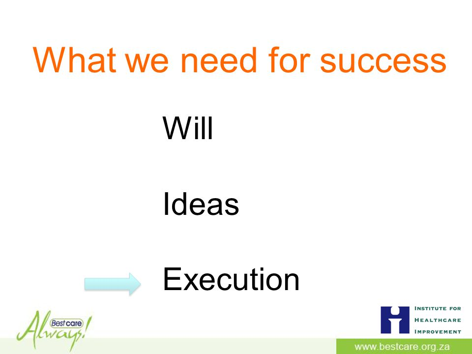 Will Ideas Execution What we need for success