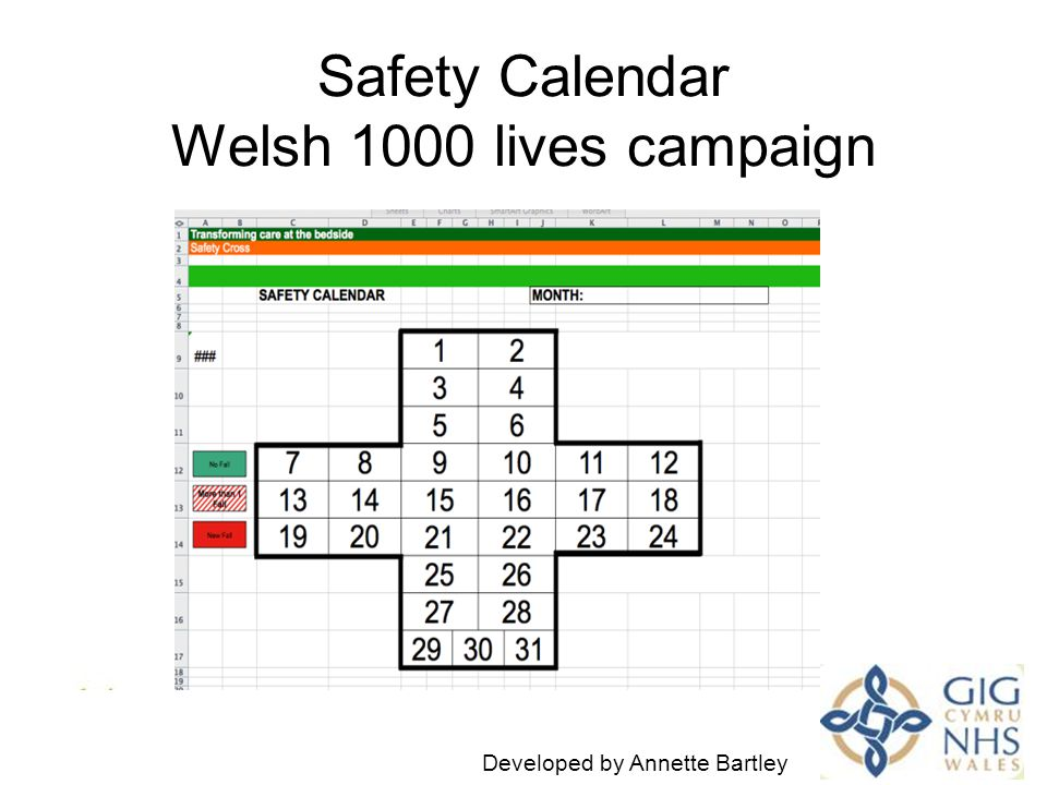Safety Calendar Welsh 1000 lives campaign I Developed by Annette Bartley