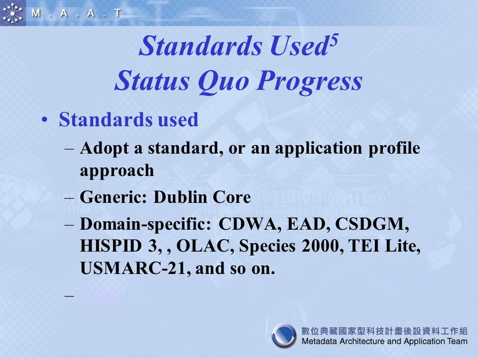 Standards Used 5 Status Quo Progress Standards used –Adopt a standard, or an application profile approach –Generic: Dublin Core –Domain-specific: CDWA