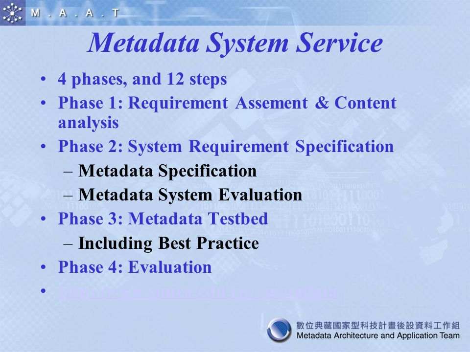4 phases, and 12 steps Phase 1: Requirement Assement & Content analysis Phase 2: System Requirement Specification –Metadata Specification –Metadata Sy