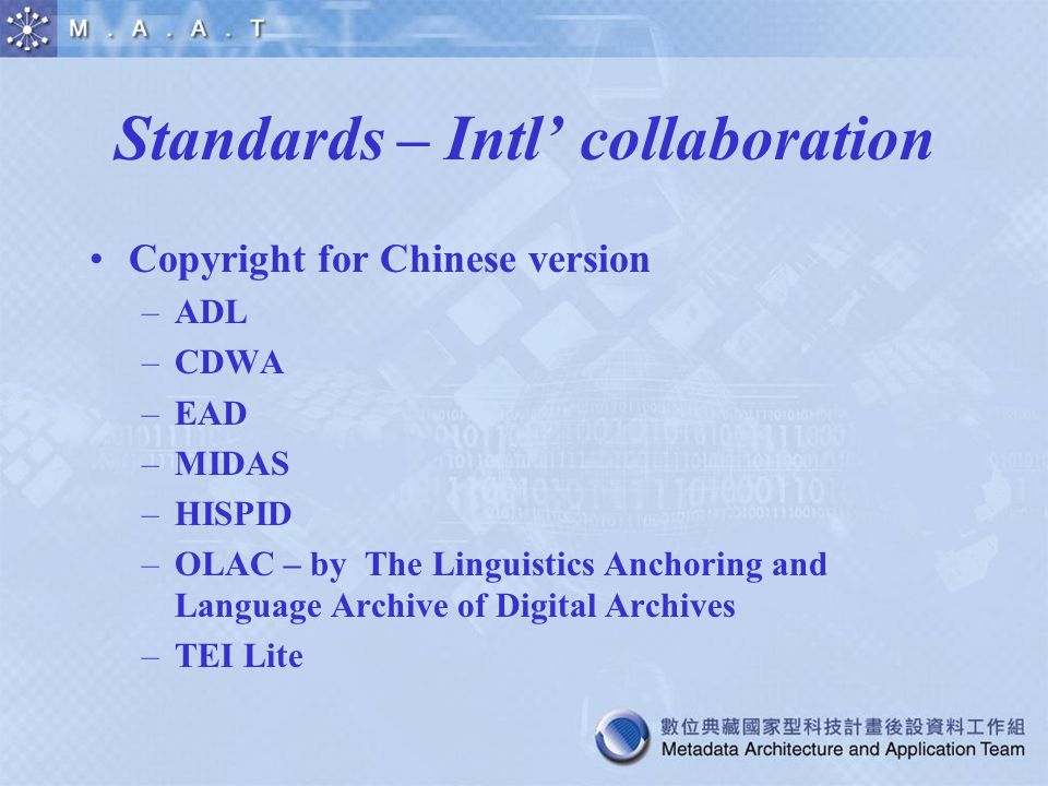 Standards – Intl' collaboration Copyright for Chinese version –ADL –CDWA –EAD –MIDAS –HISPID –OLAC – by The Linguistics Anchoring and Language Archive