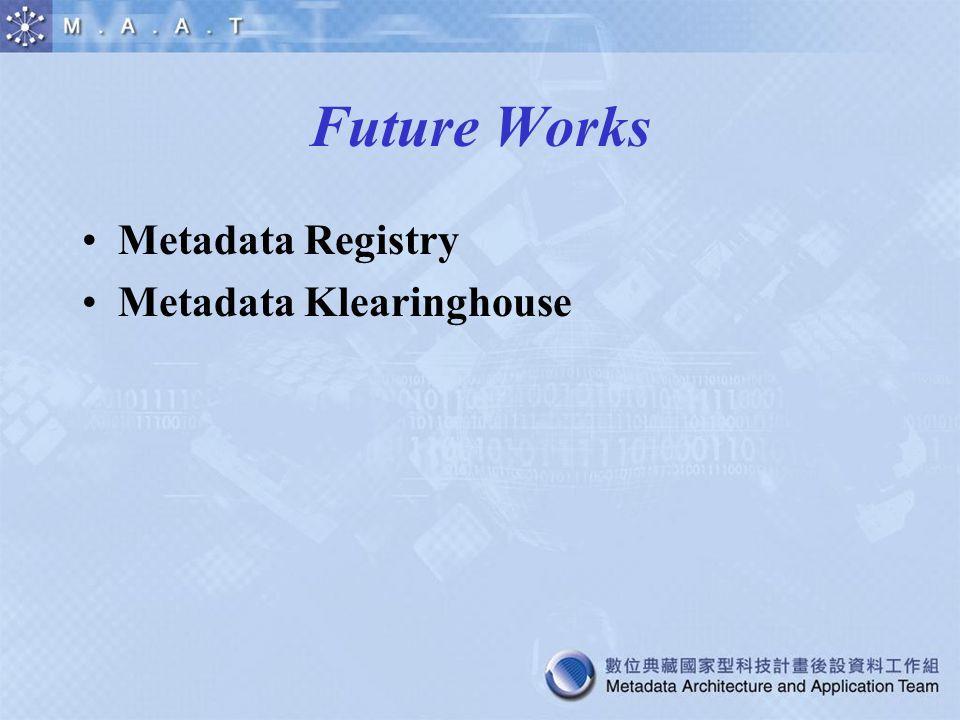Future Works Metadata Registry Metadata Klearinghouse