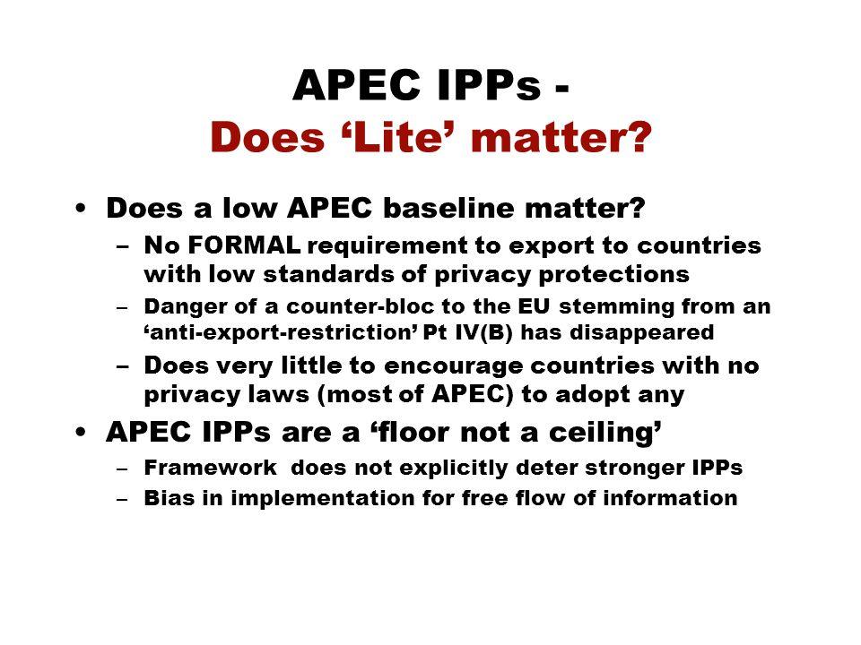 APEC IPPs - Does 'Lite' matter. Does a low APEC baseline matter.