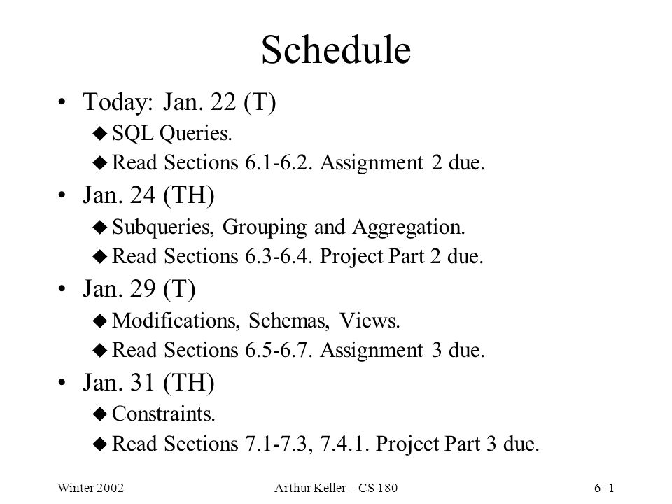 Winter 2002Arthur Keller – CS 1806–1 Schedule Today: Jan.