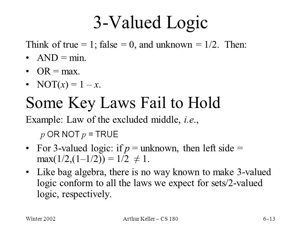 Winter 2002Arthur Keller – CS 1806–13 3-Valued Logic Think of true = 1; false = 0, and unknown = 1/2.