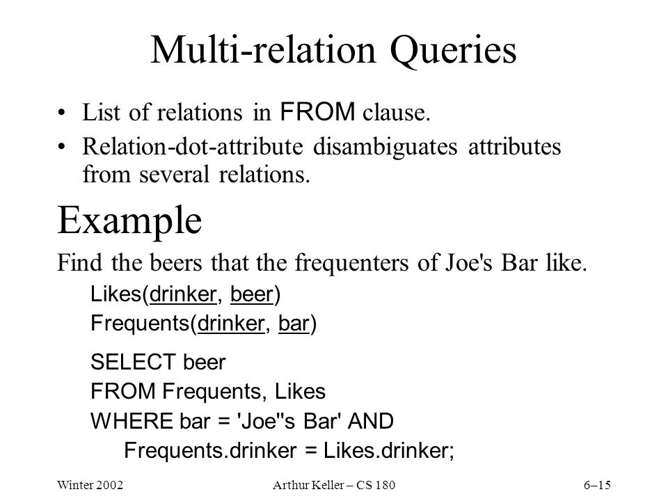 Winter 2002Arthur Keller – CS 1806–15 Multi-relation Queries List of relations in FROM clause.