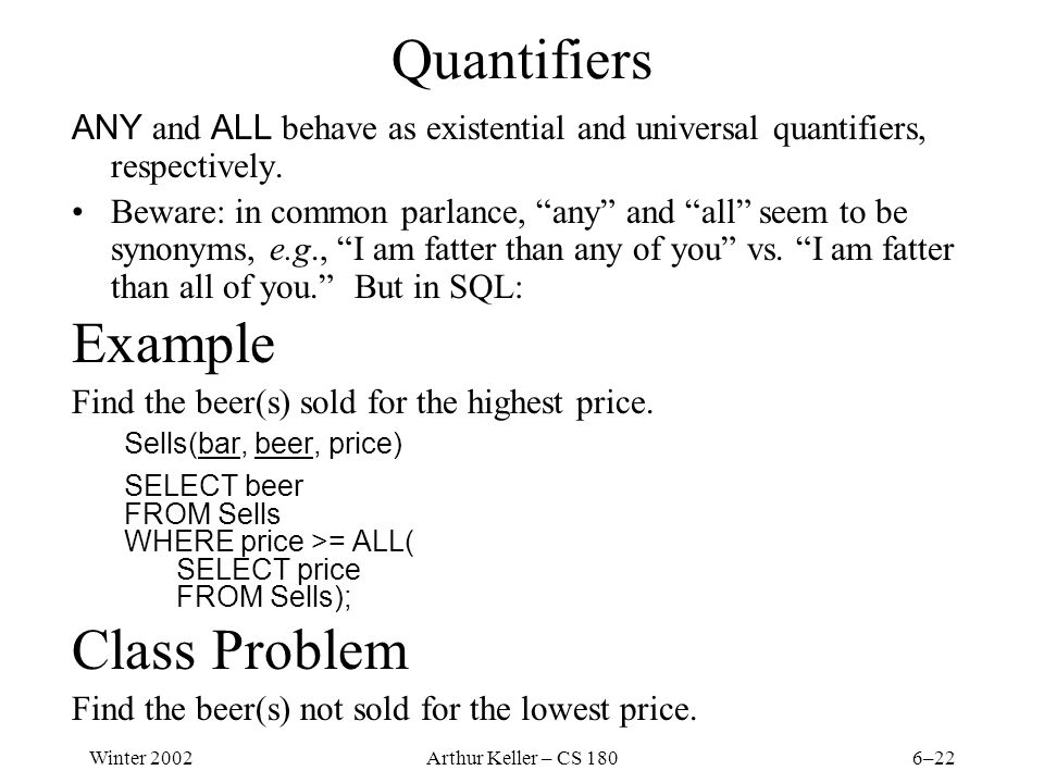 Winter 2002Arthur Keller – CS 1806–22 Quantifiers ANY and ALL behave as existential and universal quantifiers, respectively.