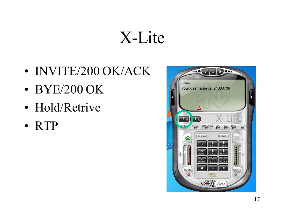 17 X-Lite INVITE/200 OK/ACK BYE/200 OK Hold/Retrive RTP