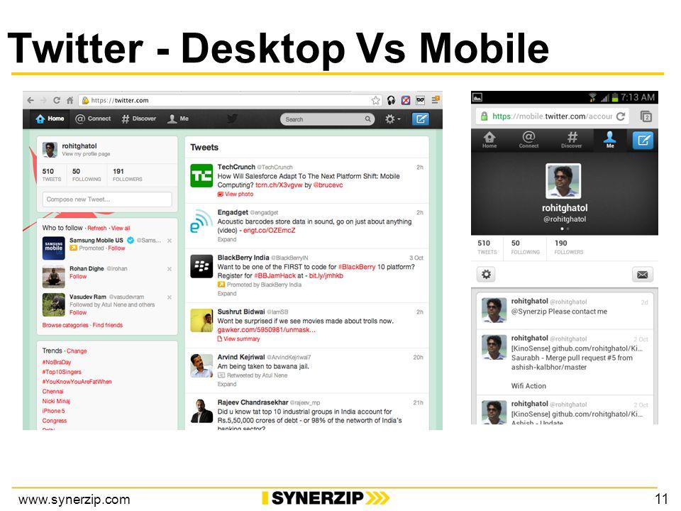 www.synerzip.com Twitter - Desktop Vs Mobile 11