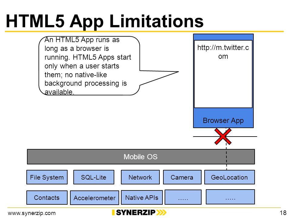 www.synerzip.com Mobile OS Browser App http://m.twitter.c om An HTML5 App runs as long as a browser is running.