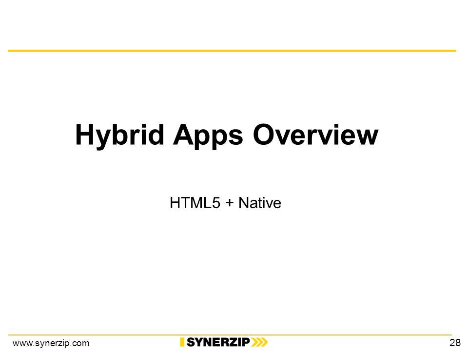 www.synerzip.com Hybrid Apps Overview HTML5 + Native 28