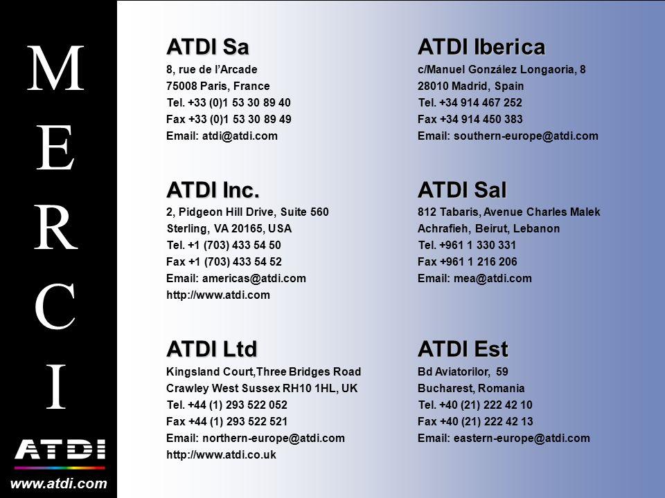 ATDI Sa 8, rue de l'Arcade 75008 Paris, France Tel. +33 (0)1 53 30 89 40 Fax +33 (0)1 53 30 89 49 Email: atdi@atdi.com ATDI Inc. 2, Pidgeon Hill Drive