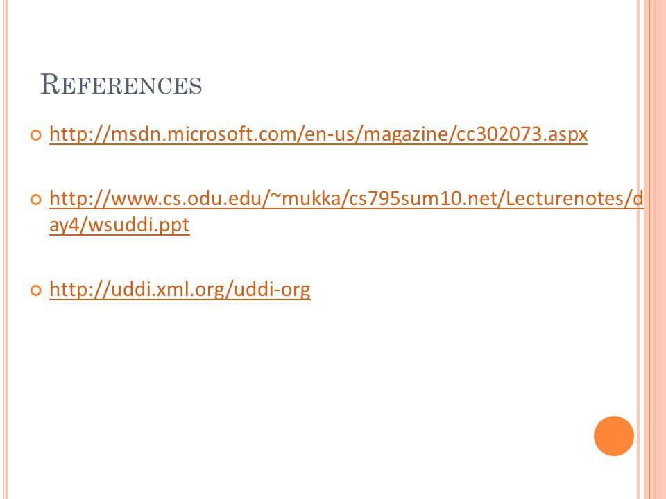 R EFERENCES http://msdn.microsoft.com/en-us/magazine/cc302073.aspx http://www.cs.odu.edu/~mukka/cs795sum10.net/Lecturenotes/d ay4/wsuddi.ppt http://uddi.xml.org/uddi-org