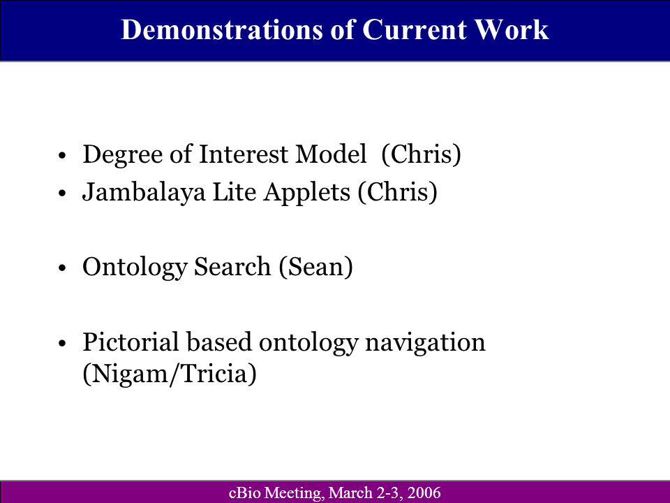 cBio Meeting, March 2-3, 2006 Demonstrations of Current Work Degree of Interest Model (Chris) Jambalaya Lite Applets (Chris) Ontology Search (Sean) Pictorial based ontology navigation (Nigam/Tricia)