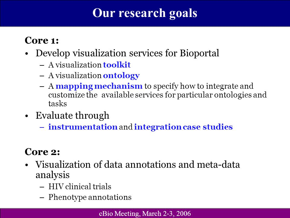 cBio Meeting, March 2-3, 2006 Our research goals Core 1: Develop visualization services for Bioportal –A visualization toolkit –A visualization ontolo