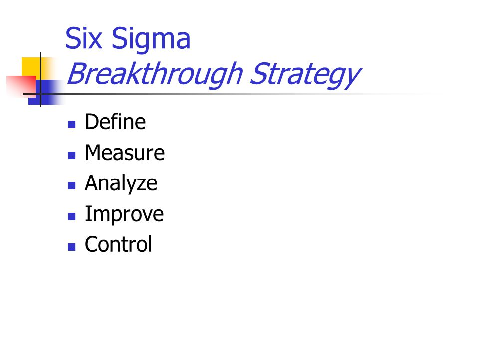 Six Sigma Breakthrough Strategy Define Measure Analyze Improve Control