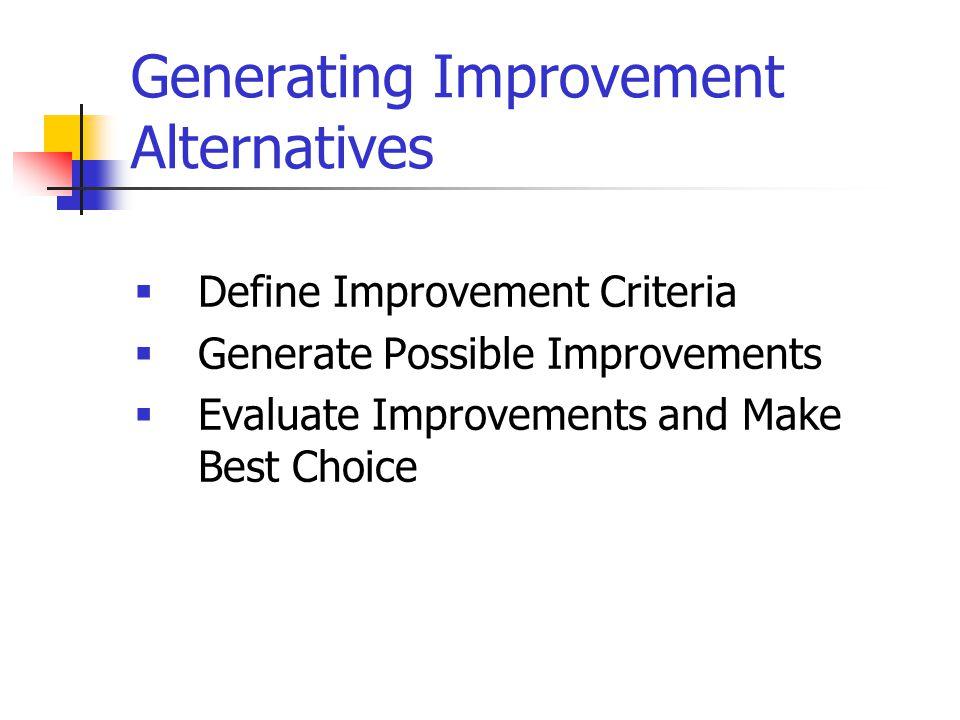 Generating Improvement Alternatives  Define Improvement Criteria  Generate Possible Improvements  Evaluate Improvements and Make Best Choice
