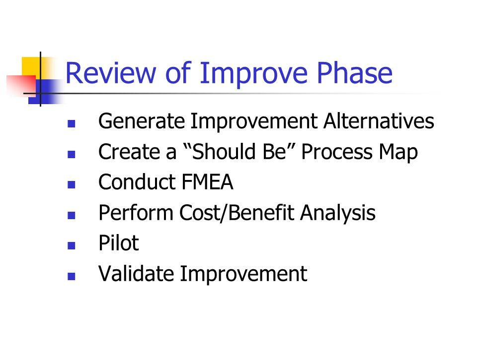 Review of Improve Phase Generate Improvement Alternatives Create a Should Be Process Map Conduct FMEA Perform Cost/Benefit Analysis Pilot Validate Improvement