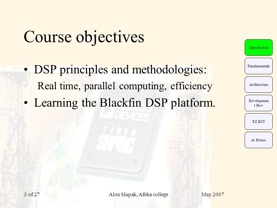 May 2007Alon Slapak, Afeka college of 274 DSP fundamentals Real-time suitability Focusing on frequent operations Parallel computing (parallelism) Low power consumption EZ-KIT Fundamentals Architecture Developmen t flow Introduction At Home