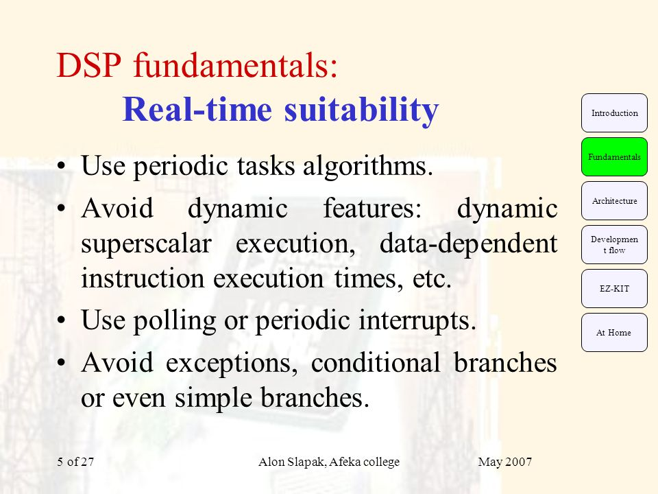 May 2007Alon Slapak, Afeka college of 275 DSP fundamentals: Real-time suitability Use periodic tasks algorithms.