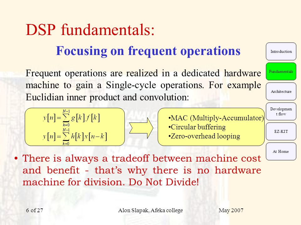 May 2007Alon Slapak, Afeka college of 276 DSP fundamentals: Focusing on frequent operations Frequent operations are realized in a dedicated hardware machine to gain a Single-cycle operations.