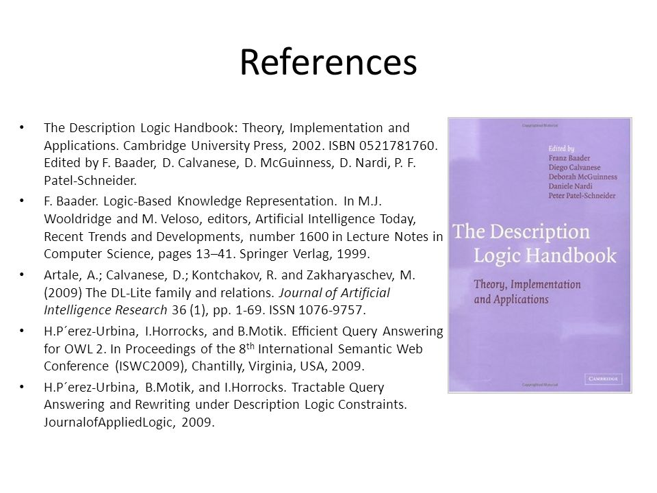 References The Description Logic Handbook: Theory, Implementation and Applications.