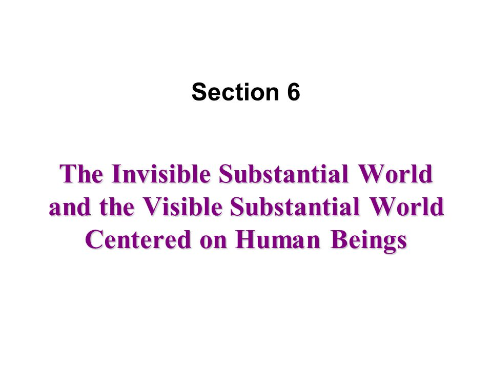 The Invisible Substantial World and the Visible Substantial World Centered on Human Beings Section 6