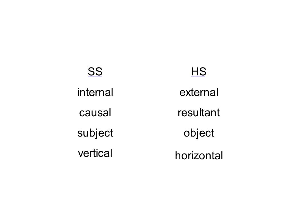 HS external resultant object horizontal SS internal causal subject vertical