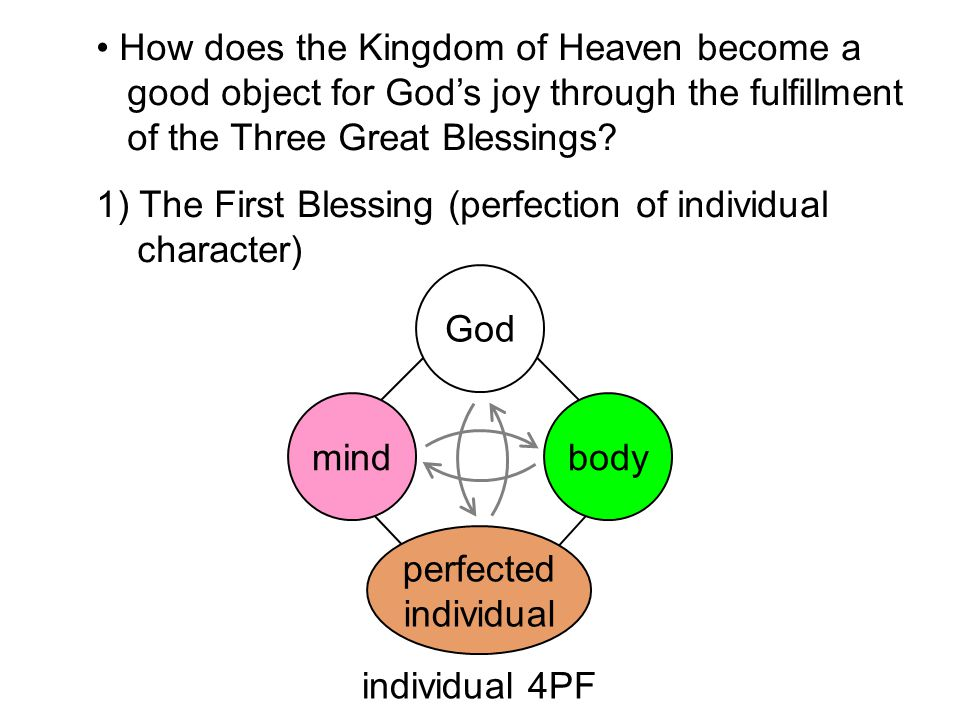 How does the Kingdom of Heaven become a good object for God's joy through the fulfillment of the Three Great Blessings.