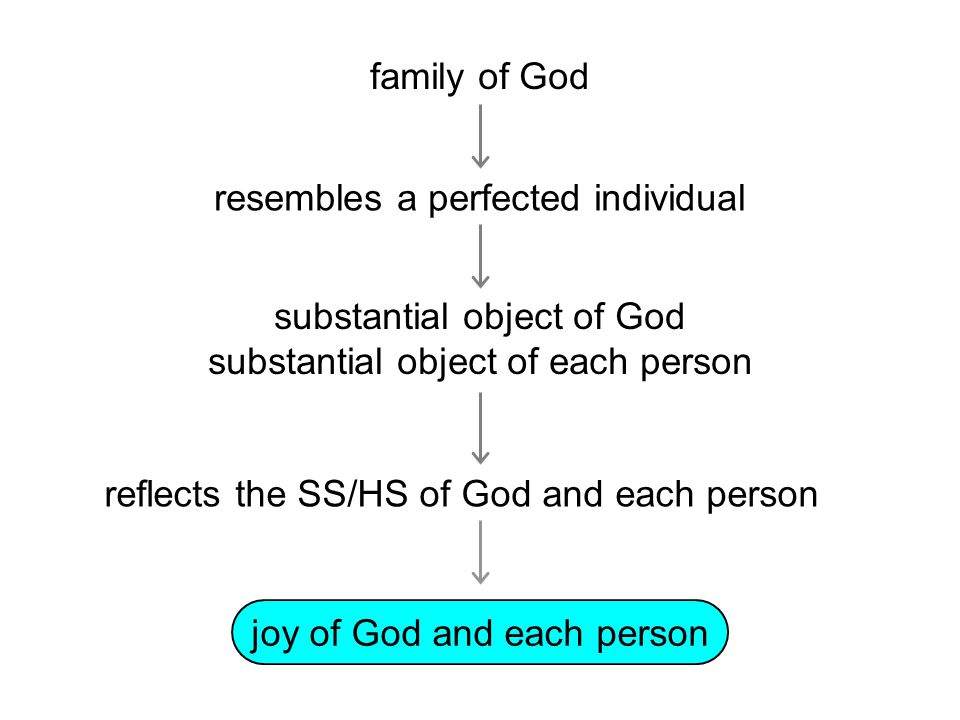 family of God joy of God and each person substantial object of God substantial object of each person resembles a perfected individual reflects the SS/HS of God and each person