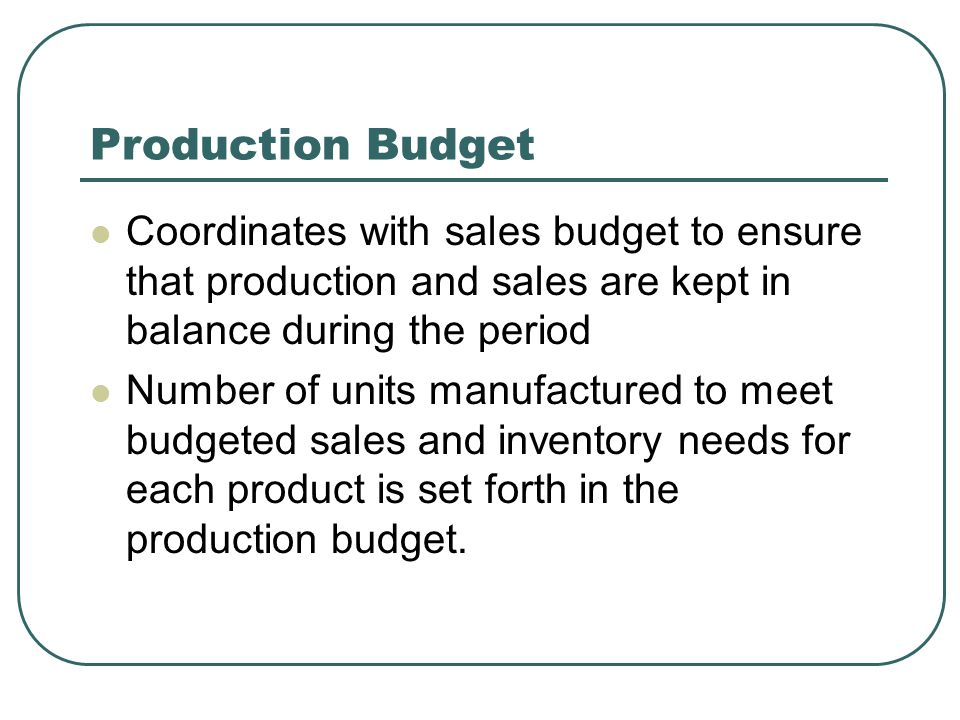 Production Budget Coordinates with sales budget to ensure that production and sales are kept in balance during the period Number of units manufactured