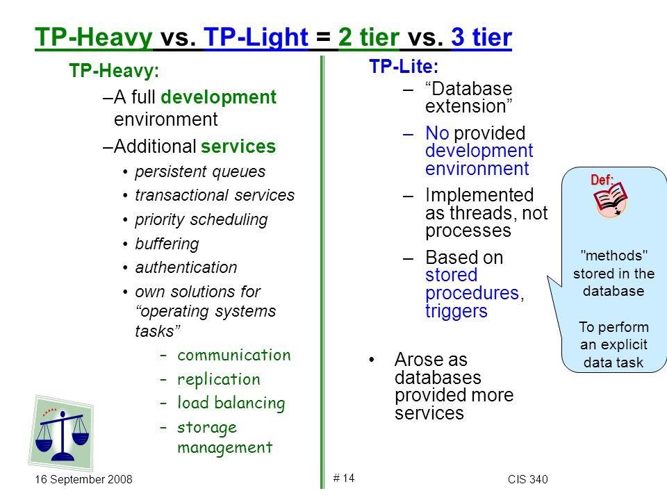 16 September 2008CIS 340 # 14 TP-Heavy vs. TP-Light = 2 tier vs.