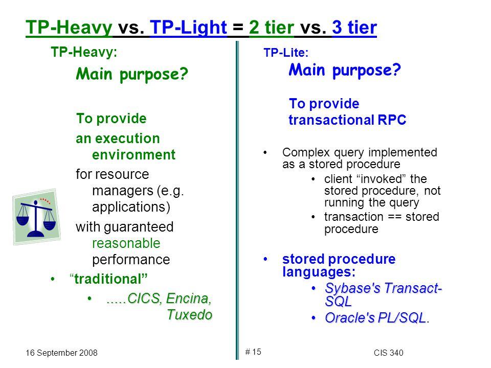 16 September 2008CIS 340 # 15 TP-Heavy vs. TP-Light = 2 tier vs.