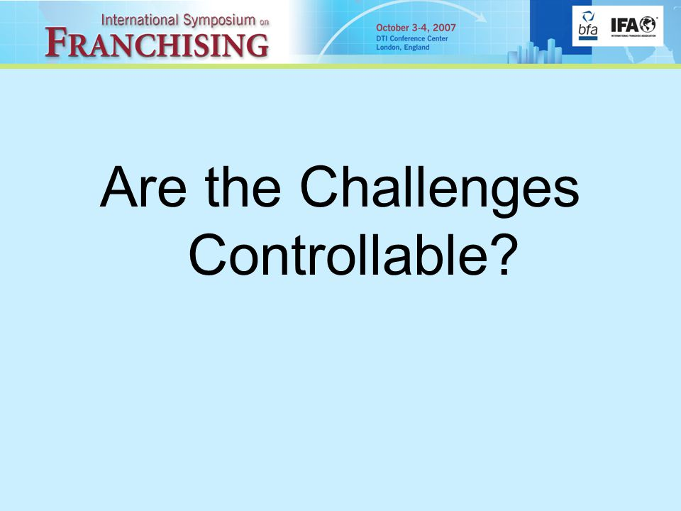 Are the Challenges Controllable