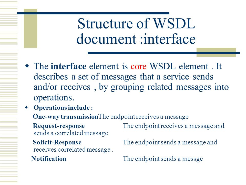 Structure of WSDL document :interface  The interface element is core WSDL element.