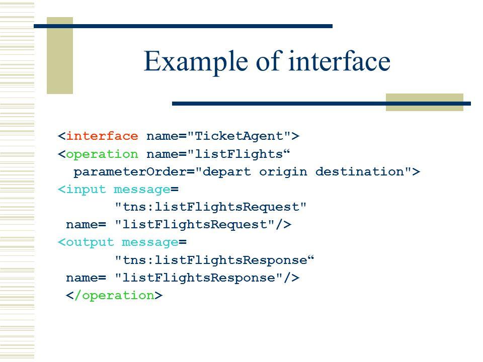 Example of interface <operation name= listFlights parameterOrder= depart origin destination > <input message= tns:listFlightsRequest name= listFlightsRequest /> <output message= tns:listFlightsResponse name= listFlightsResponse />