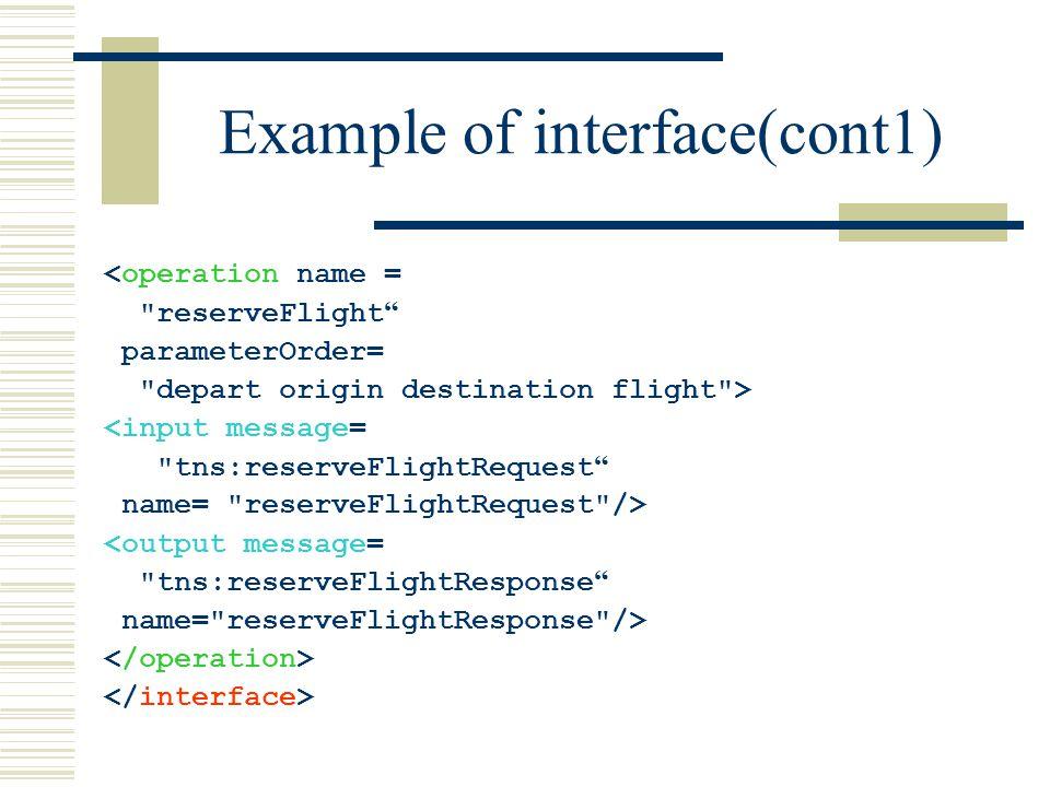 Example of interface(cont1) <operation name = reserveFlight parameterOrder= depart origin destination flight > <input message= tns:reserveFlightRequest name= reserveFlightRequest /> <output message= tns:reserveFlightResponse name= reserveFlightResponse />