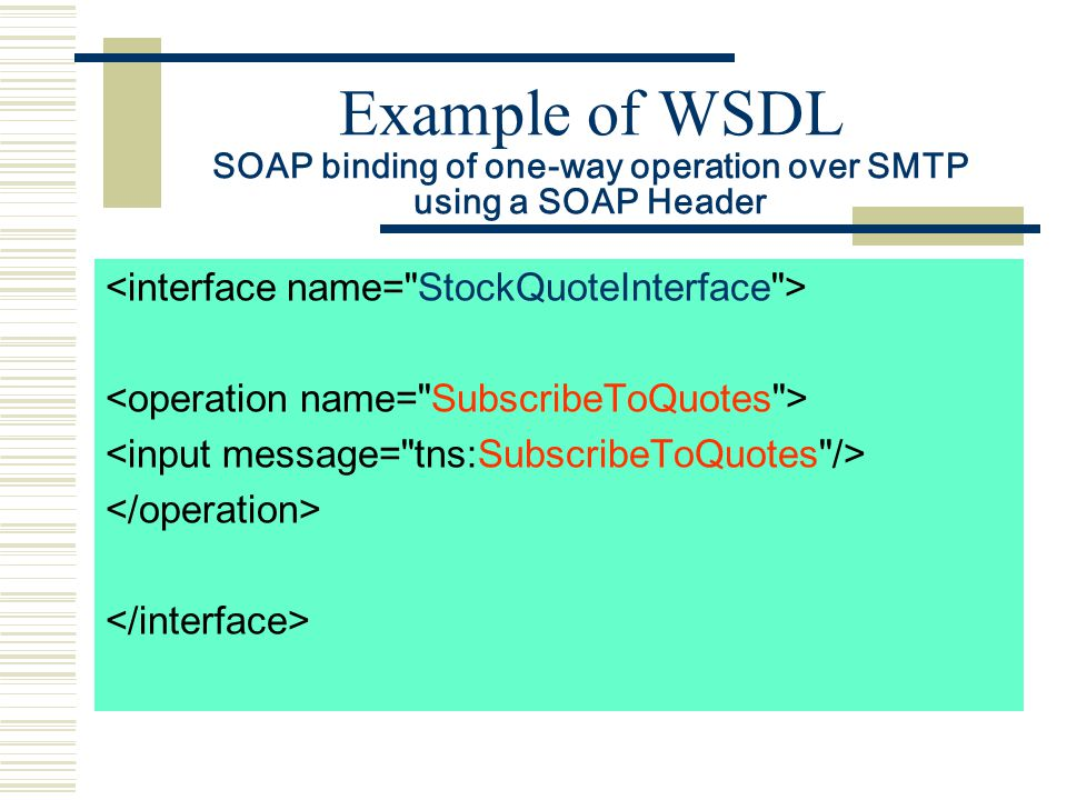 Example of WSDL SOAP binding of one-way operation over SMTP using a SOAP Header