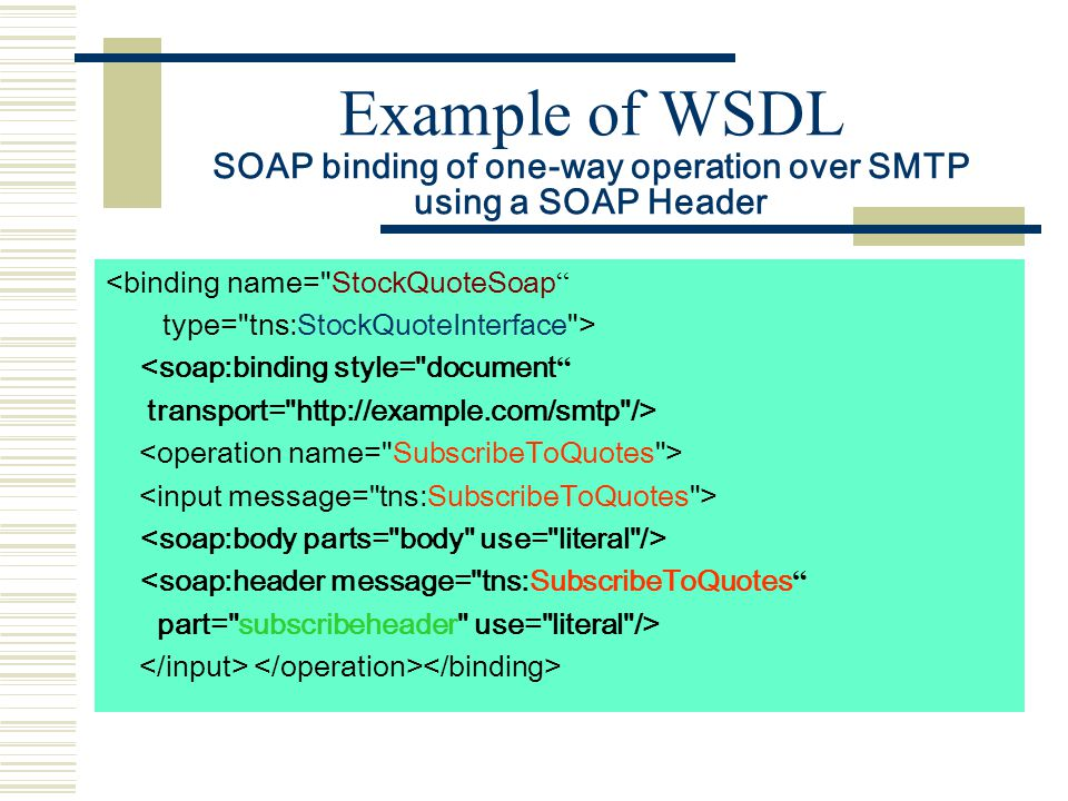 Example of WSDL SOAP binding of one-way operation over SMTP using a SOAP Header <binding name= StockQuoteSoap type= tns:StockQuoteInterface > <soap:binding style= document transport= http://example.com/smtp /> <soap:header message= tns:SubscribeToQuotes part= subscribeheader use= literal />