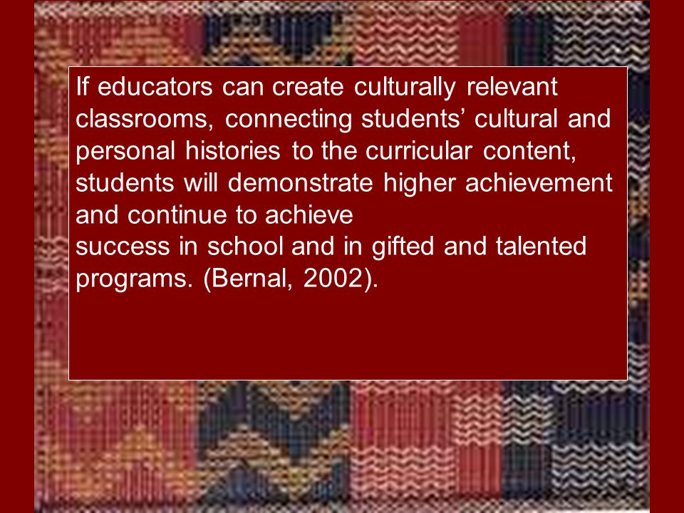 In culturally responsive classrooms, teachers also move beyond celebrating heritage months and famous people to make a bridge between diverse cultures and the dominant culture to develop and promote an appreciation for all cultures to improve curricular connections and academic achievement.