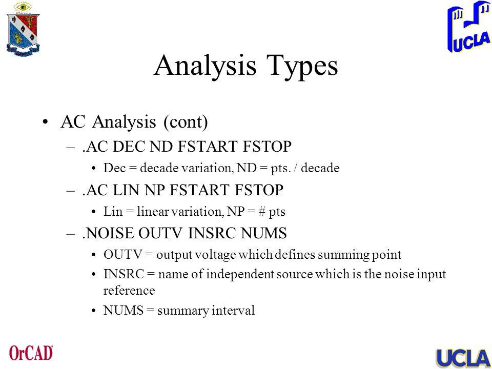 Analysis Types AC Analysis (cont) –.AC DEC ND FSTART FSTOP Dec = decade variation, ND = pts. / decade –.AC LIN NP FSTART FSTOP Lin = linear variation,