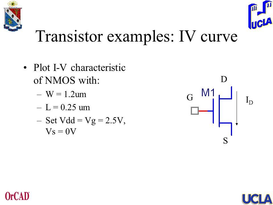 Transistor examples: IV curve Plot I-V characteristic of NMOS with: –W = 1.2um –L = 0.25 um –Set Vdd = Vg = 2.5V, Vs = 0V IDID G D S
