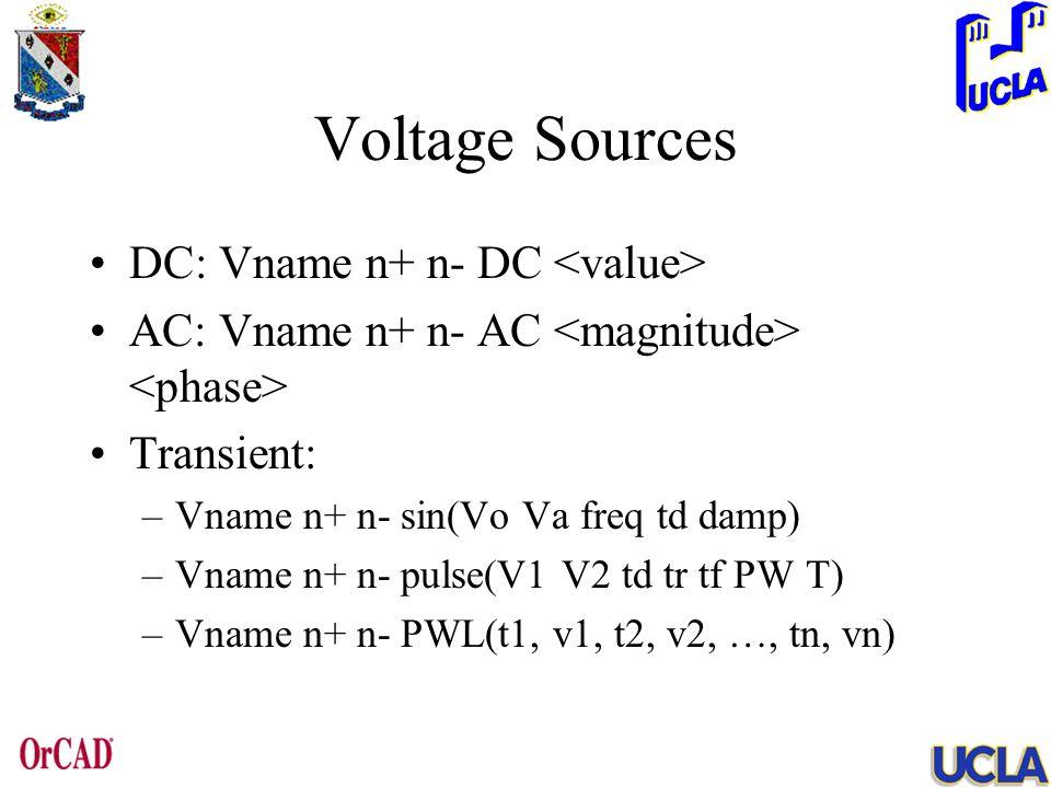Voltage Sources DC: Vname n+ n- DC AC: Vname n+ n- AC Transient: –Vname n+ n- sin(Vo Va freq td damp) –Vname n+ n- pulse(V1 V2 td tr tf PW T) –Vname n