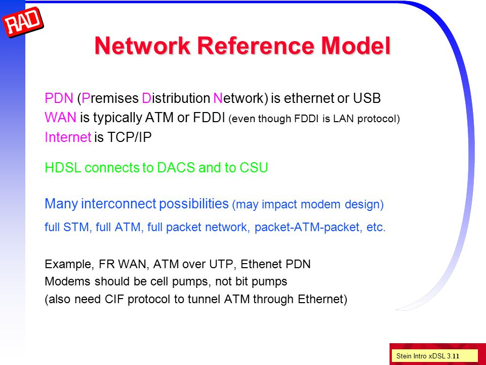 Stein Intro xDSL 3. 11 Network Reference Model PDN (Premises Distribution Network) is ethernet or USB WAN is typically ATM or FDDI (even though FDDI i