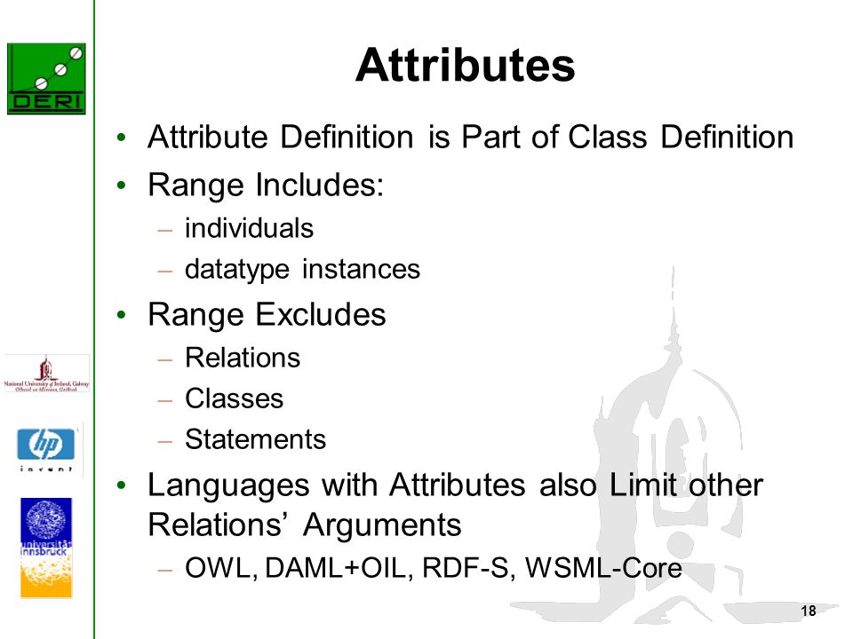 18 Attributes Attribute Definition is Part of Class Definition Range Includes: – individuals – datatype instances Range Excludes – Relations – Classes – Statements Languages with Attributes also Limit other Relations' Arguments – OWL, DAML+OIL, RDF-S, WSML-Core