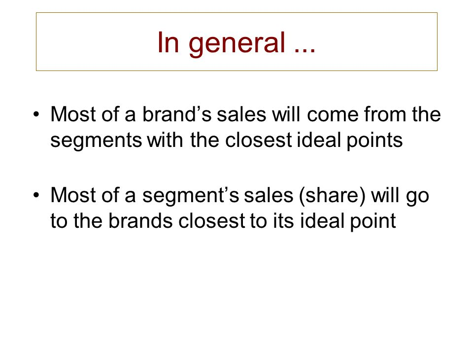 In general... Most of a brand's sales will come from the segments with the closest ideal points Most of a segment's sales (share) will go to the brand