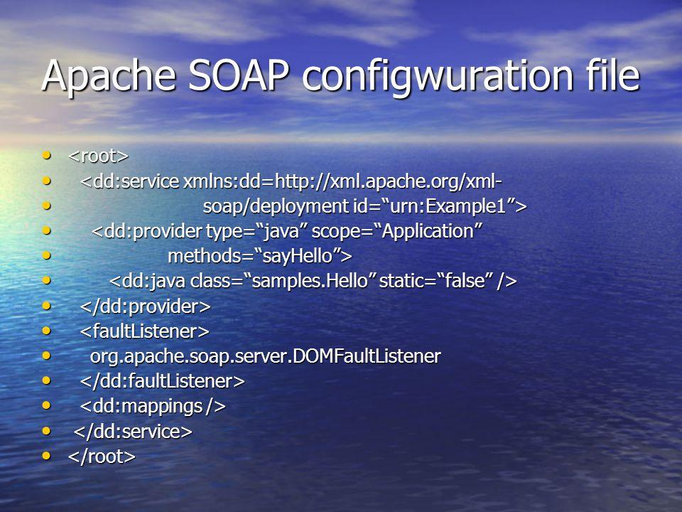 Apache SOAP configwuration file <dd:service xmlns:dd=http://xml.apache.org/xml- <dd:service xmlns:dd=http://xml.apache.org/xml- soap/deployment id= urn:Example1 > soap/deployment id= urn:Example1 > <dd:provider type= java scope= Application <dd:provider type= java scope= Application methods= sayHello > methods= sayHello > org.apache.soap.server.DOMFaultListener org.apache.soap.server.DOMFaultListener