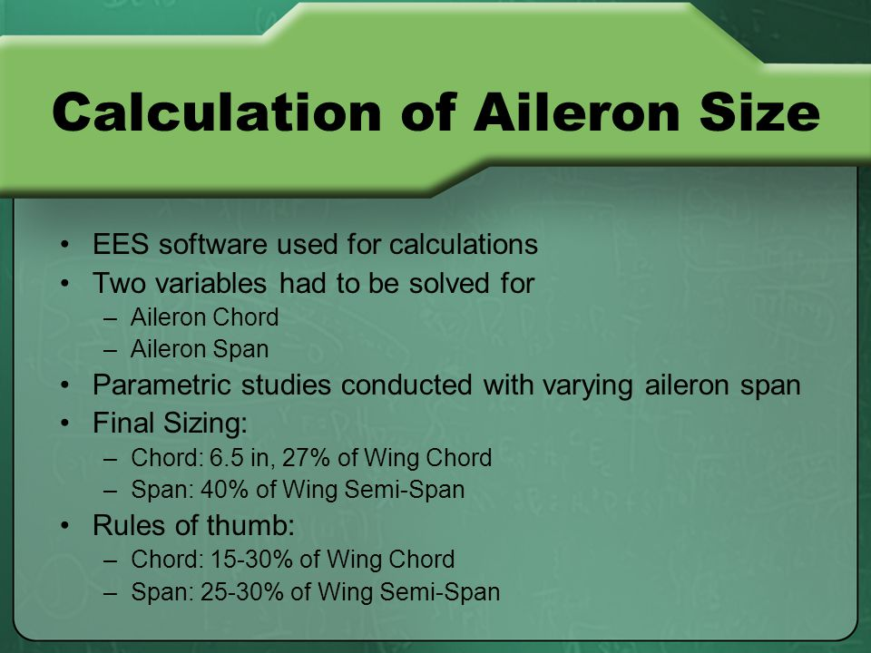 EES software used for calculations Two variables had to be solved for –Aileron Chord –Aileron Span Parametric studies conducted with varying aileron span Final Sizing: –Chord: 6.5 in, 27% of Wing Chord –Span: 40% of Wing Semi-Span Rules of thumb: –Chord: 15-30% of Wing Chord –Span: 25-30% of Wing Semi-Span